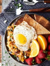 Cheesy Pork and Potato Breakfast Skillet overhead