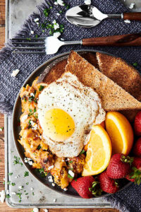 Cheesy Pork and Potato Breakfast Skillet overhead