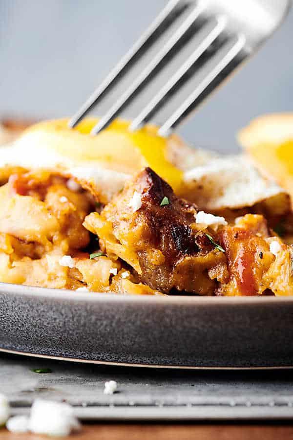 Cheesy Pork and Potato Breakfast Skillet close up