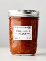 chili lime vinaigrette in mason jar