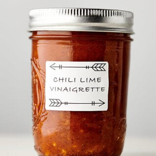 chili lime vinaigrette in mason jar