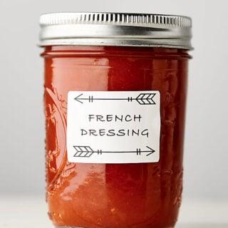 Healthy Homemade French Dressing Recipe in mason jar