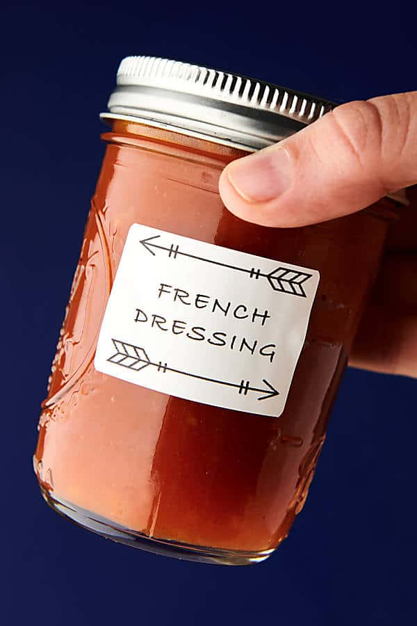 Healthy Homemade French Dressing Recipe blue background