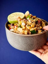 Easy Mexican Quinoa Salad blue background