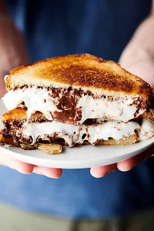 S'Mores Sandwich blue background