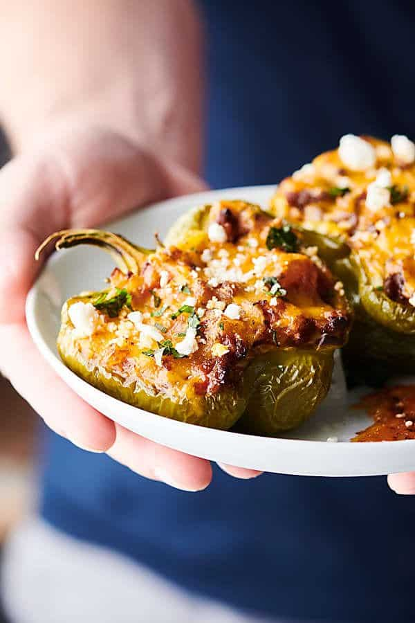 Cheesy Stuffed Peppers blue background