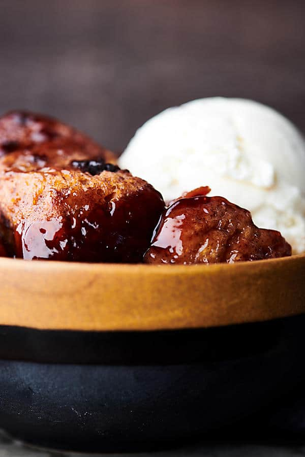 Slow Cooker Cherry Cobbler close up
