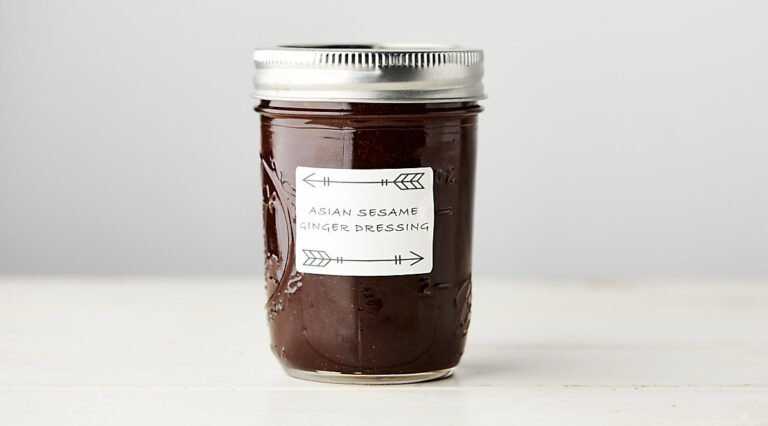 Mason jar of asian salad dressing