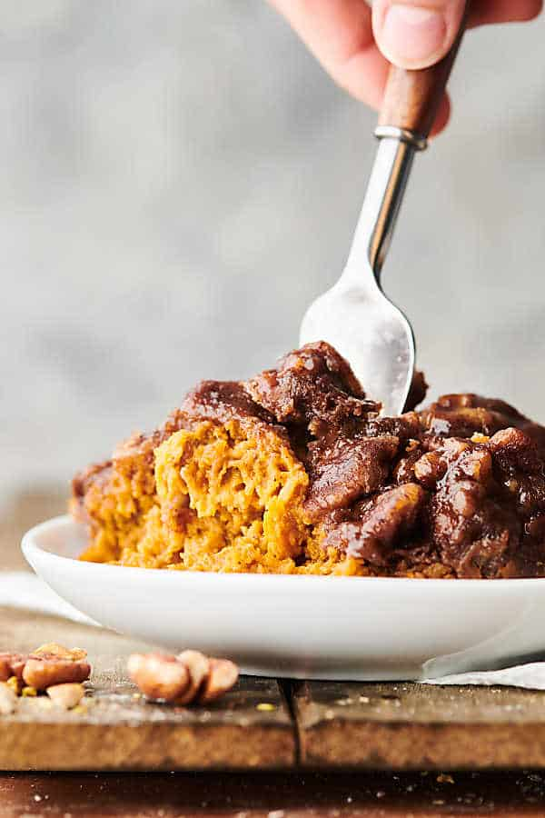 crockpot sweet potato casserole with fork