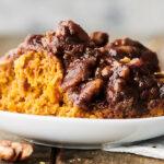 plate of crockpot sweet potato casserole