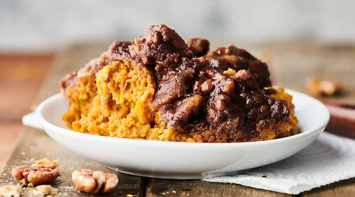 plate of crockpot sweet potato casserole
