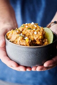 Mexican Corn Casserole holding in hand