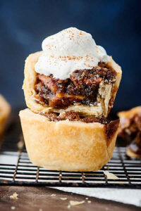 Mini Pecan Pies stacked