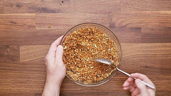 pretzel crust ingredients in mixing bowl