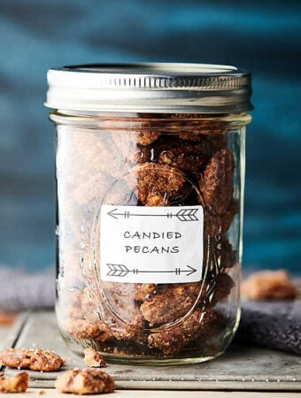 candied pecans in mason jar