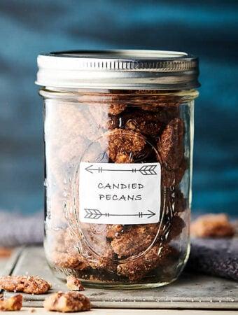 candied pecans in mason jar