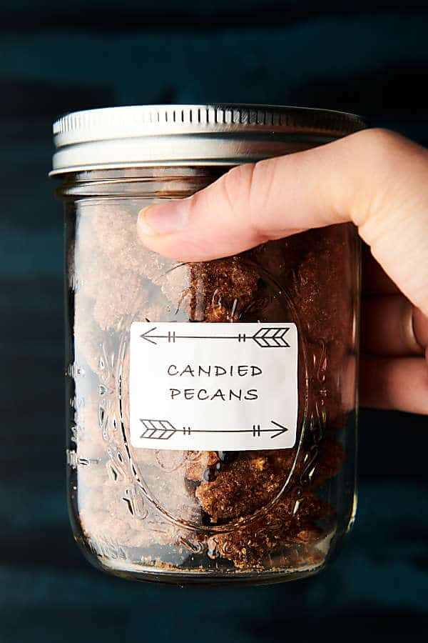 candied pecans holding in mason jar