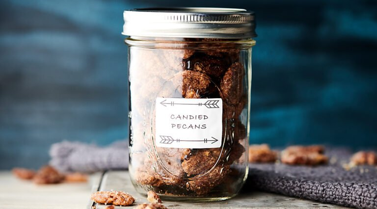 Jar of candied pecans