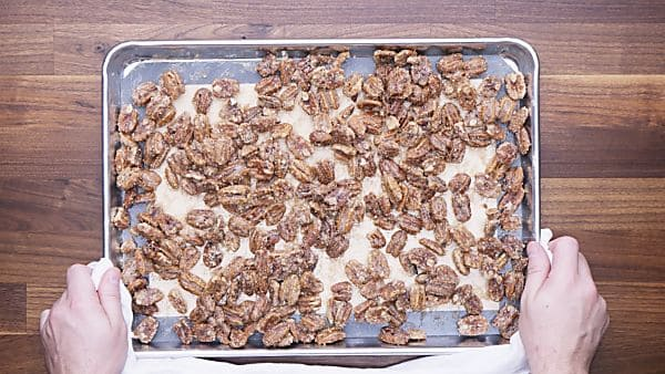 Finished candied pecans on baking sheet