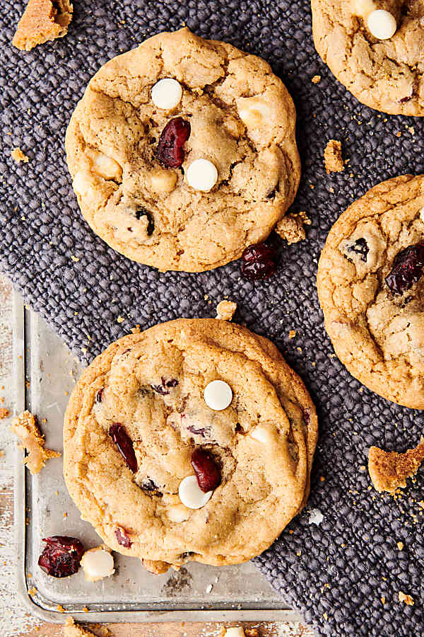 cranberry white chocolate chip cookies above
