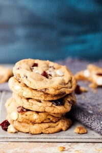 cranberry white chocolate chip cookies stacked