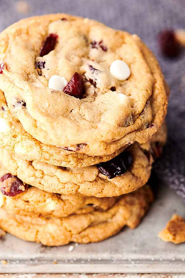 cranberry white chocolate chip cookies close up