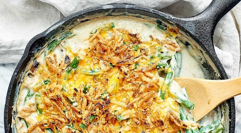 Green bean casserole in a skillet