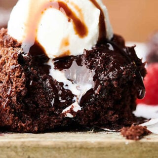 cake mix chocolate lava cake topped with ice cream