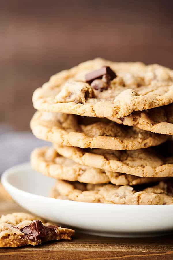 chewy chocolate chip cookies on plate close up