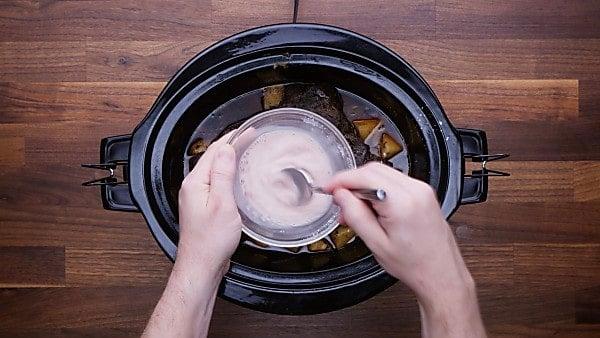 vinegar and cornstarch mixed in bowl