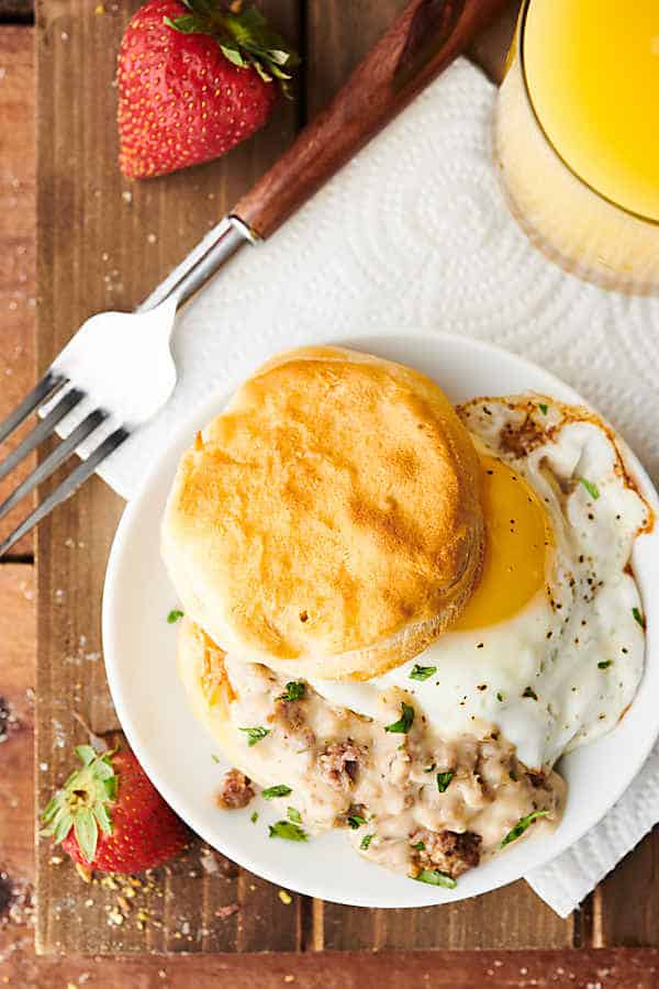 biscuits and gravy above