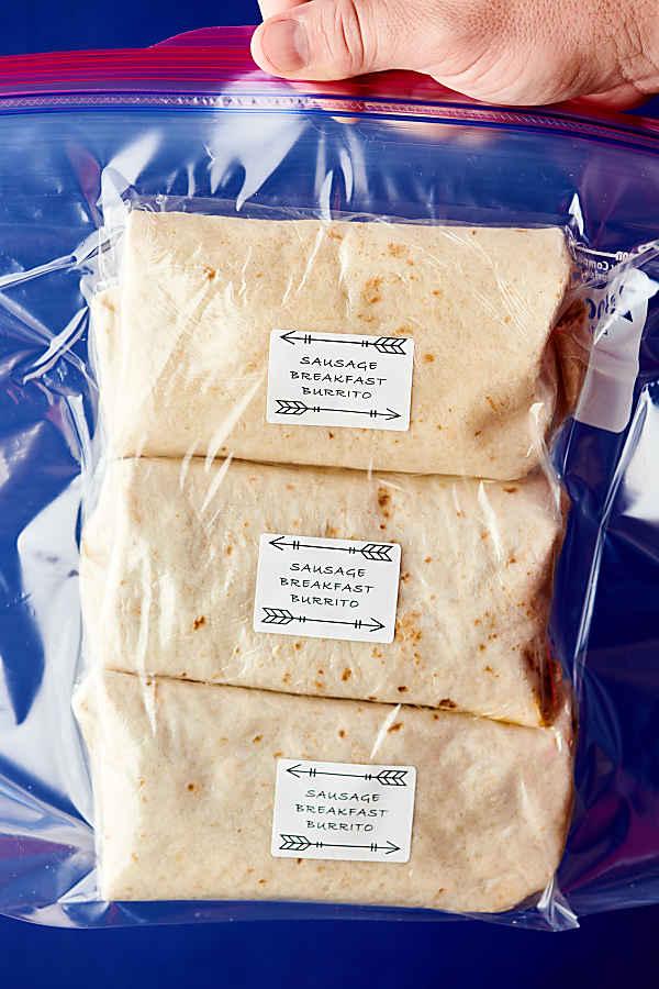 breakfast burritos in a freezer ziplock baggie