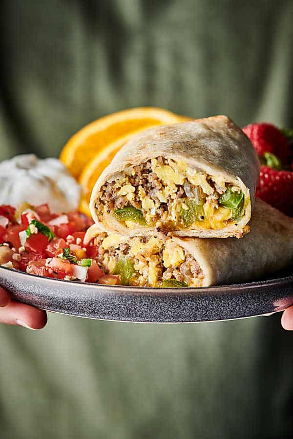 breakfast burritos on a plate
