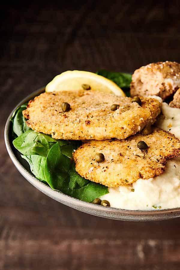 air fryer chicken piccata brown background