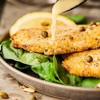 air fryer chicken piccata with lemon sauce drizzle