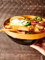Instant Pot Chicken Tortilla Soup brown background