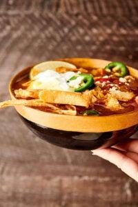 Instant Pot Chicken Tortilla Soup brown background