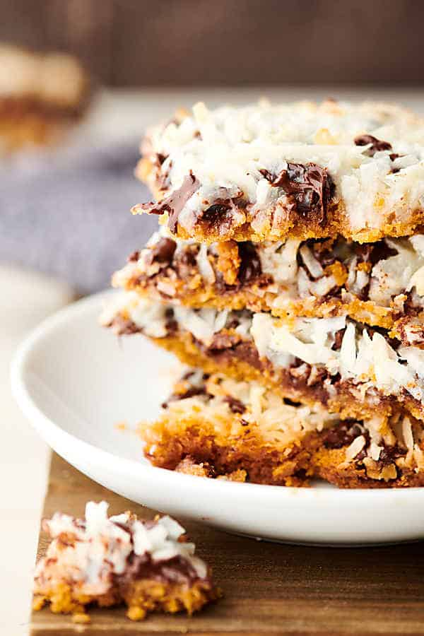 Magic Cookie Bars stacked close up