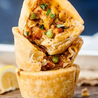 mini chicken pot pies stacked