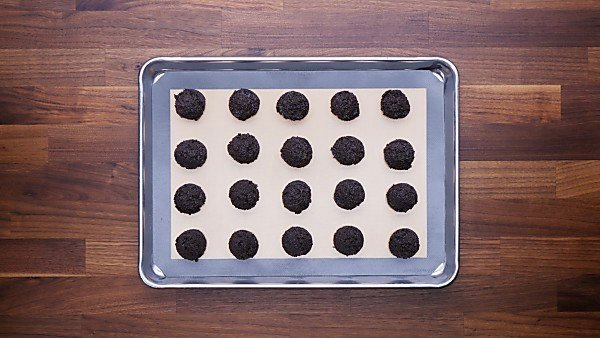 Oreo balls on baking sheet