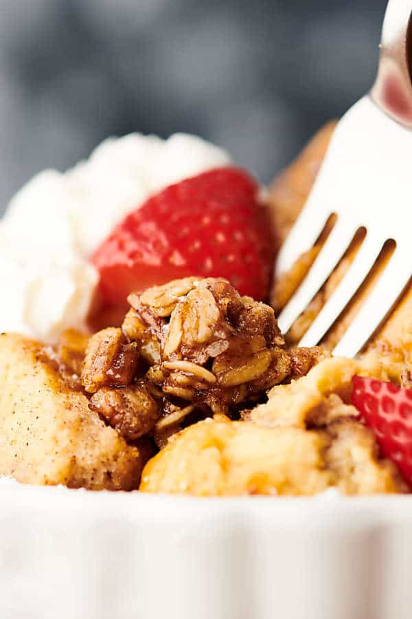Closeup of french toast casserole with fork