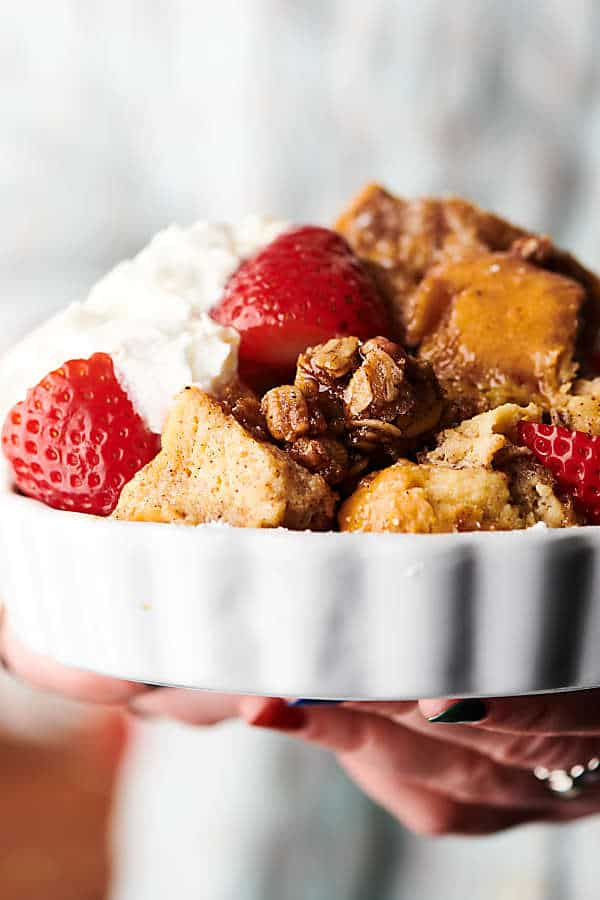 Bowl of french toast casserole held