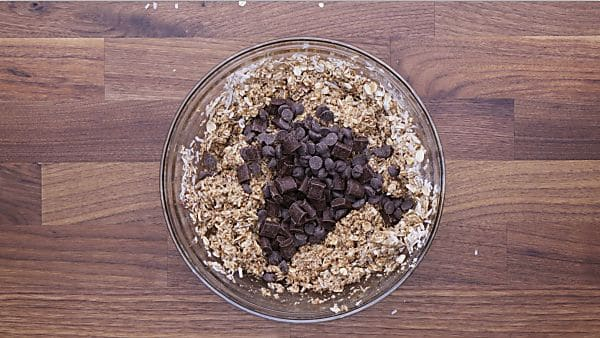 Healthy oatmeal chocolate chip cookie dough with chocolate chips added