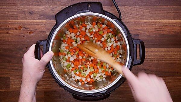 Veggies being sautéed in instant pot