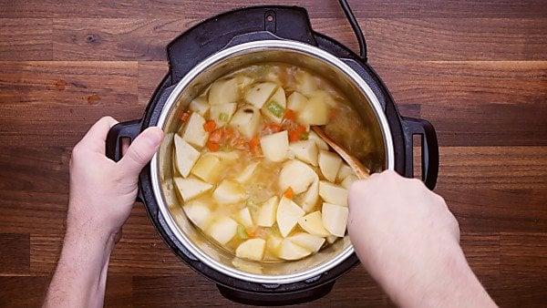 Instant pot potato soup veggies and broth