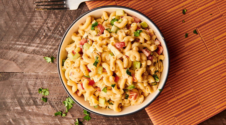 Bowl of pasta salad above