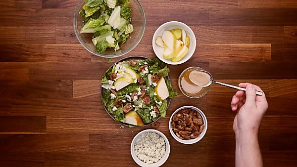 Assembled pear blue cheese salad