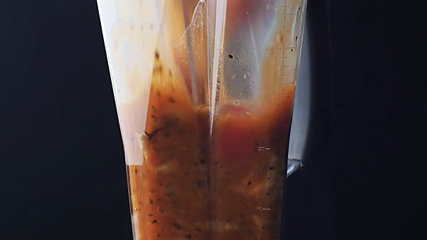 Roasted tomato soup being blended