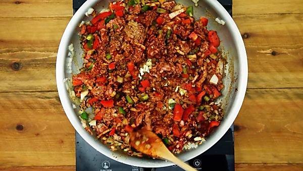Turkey taco ingredients in a skillet