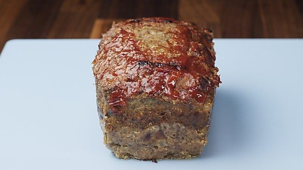 Finished meatloaf on cutting board
